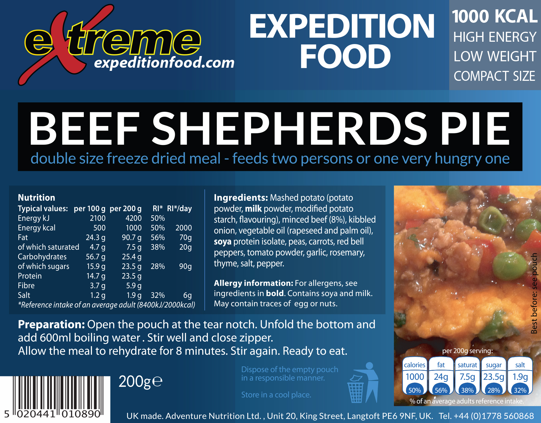 Extreme expedition Food 1000 Kcal Beef Shepherds pie