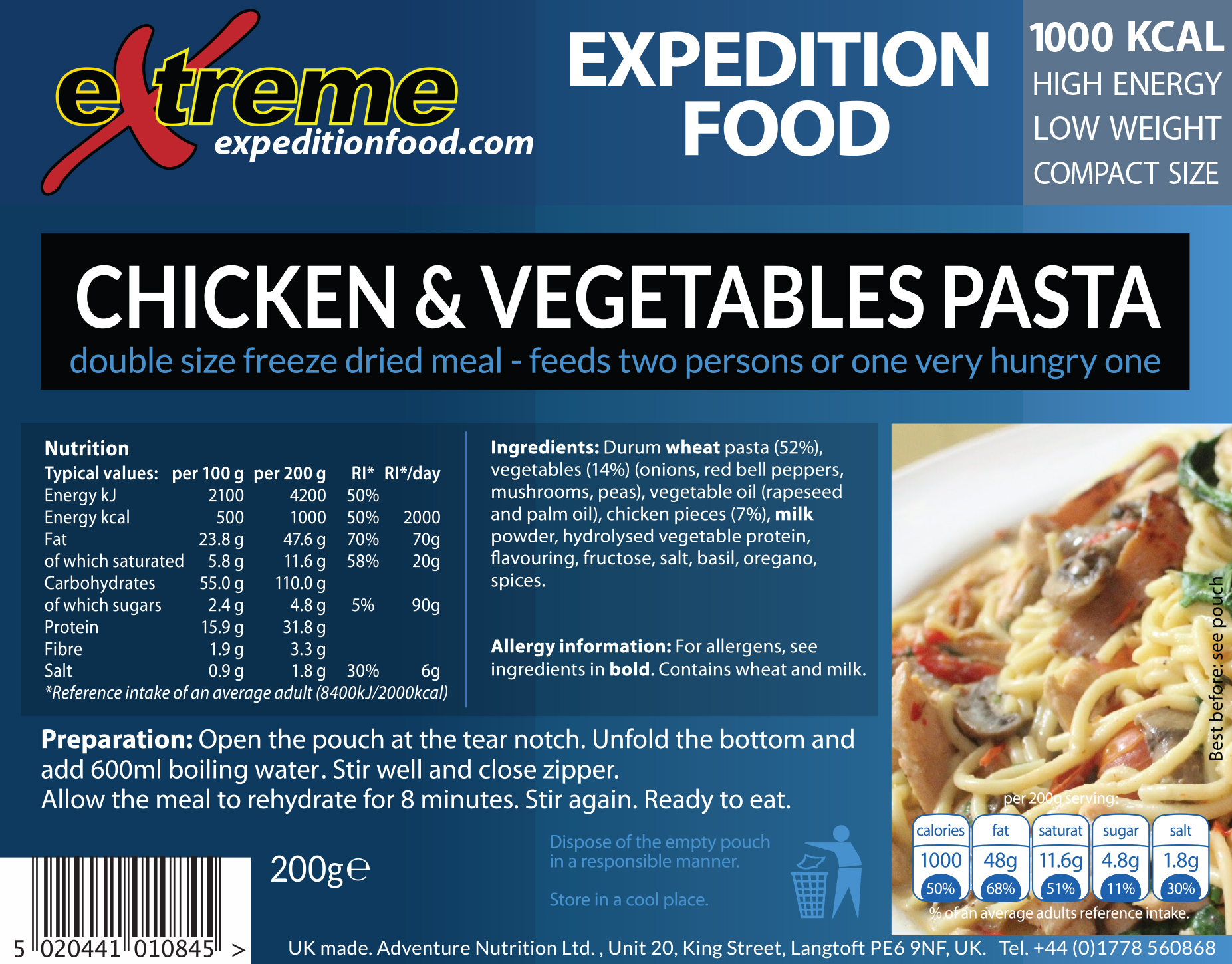 Extreme Expedition Food 1000 Kcal Chicken & vegetables pasta