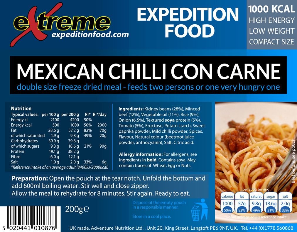 Extreme Expedition Food 1000 Kcal Mexican chilli con carne