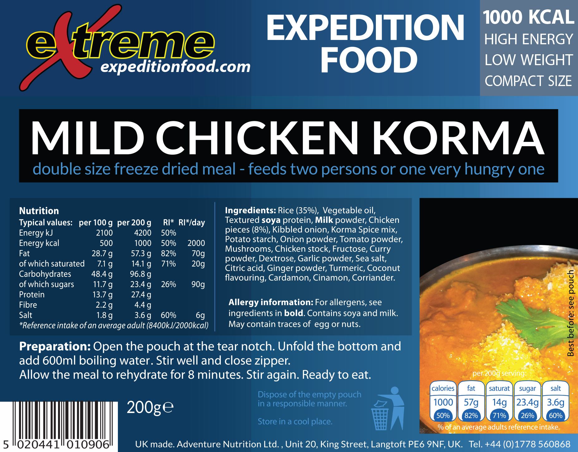 Extreme Expedition Food 1000 Kcal Mild chicken korma