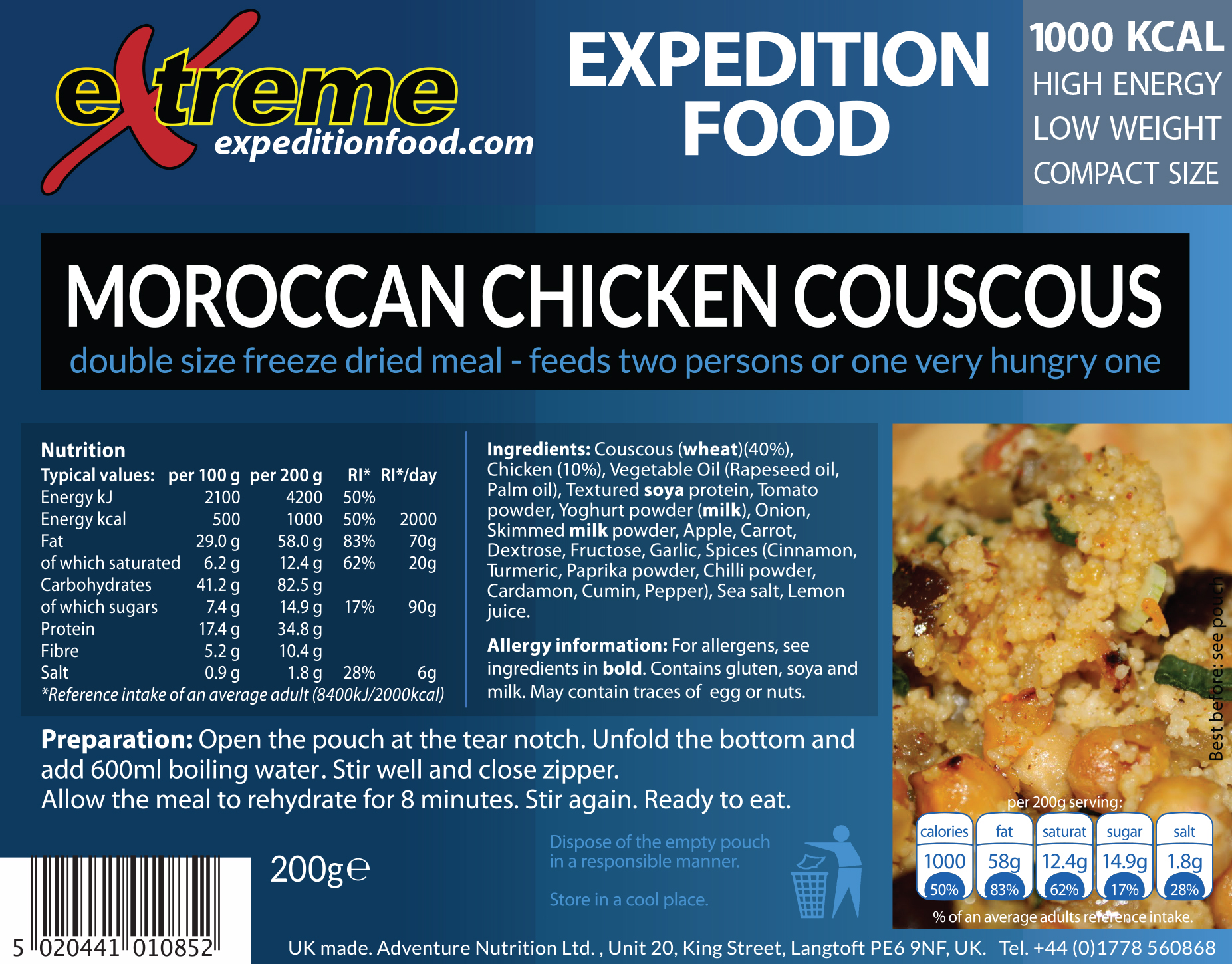 Extreme Expedition Food 1000 Kcal Moroccan chicken couscous