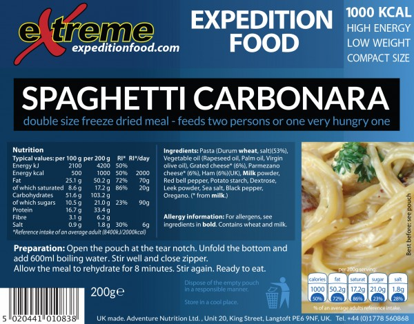 Extreme Expedition Food 1000 Kcal Spaghetti carbonara