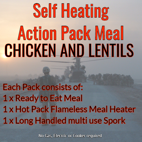 Action Hot Pack Self Heating Meal CHICKEN & LENTILS 300g