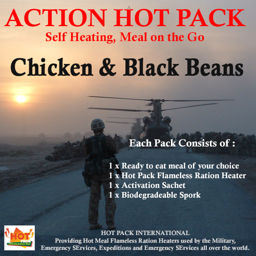 Action Hot Pack Self Heating Meal CHICKEN & BLACK BEANS 300g