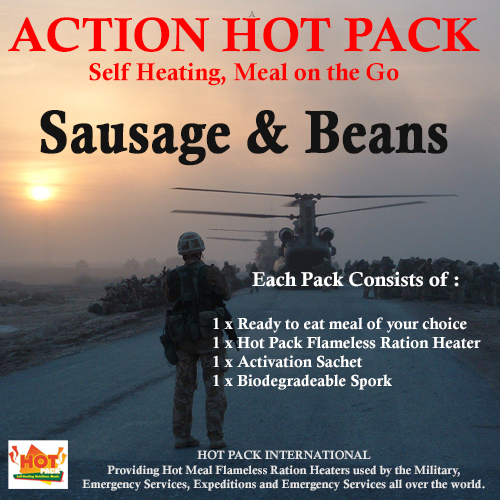 Action Hot Pack Self Heating Meal SAUSAGE, BEANS & TOMATO SAUCE 300g