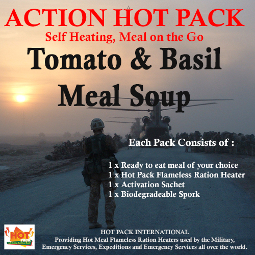 Action Hot Pack Self Heating TOMATO & BASIL MEAL SOUP 300g