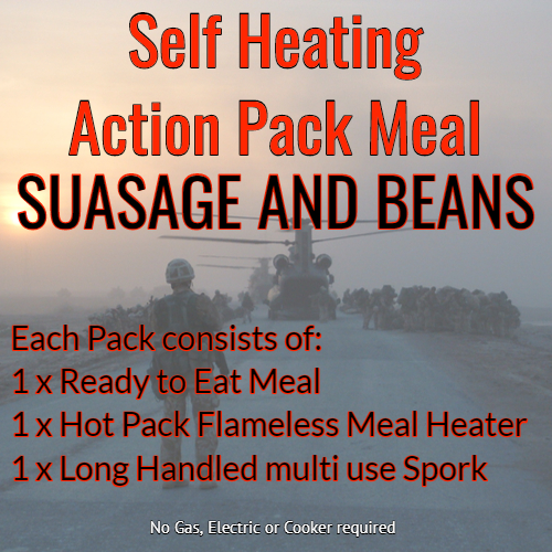 Action Hot Pack Self Heating Meal SAUSAGE & BEANS 300g