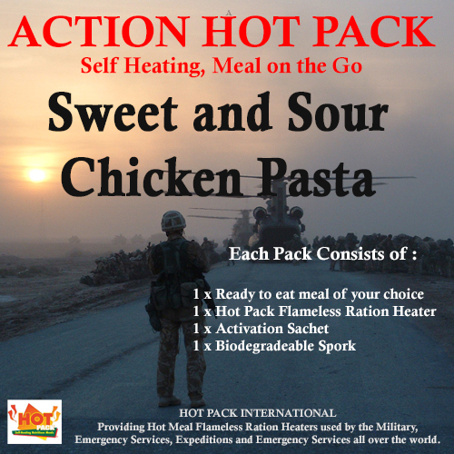 Action Hot Pack Self Hating Meal SWEET & SOUR CHICKEN & PASTA 300g