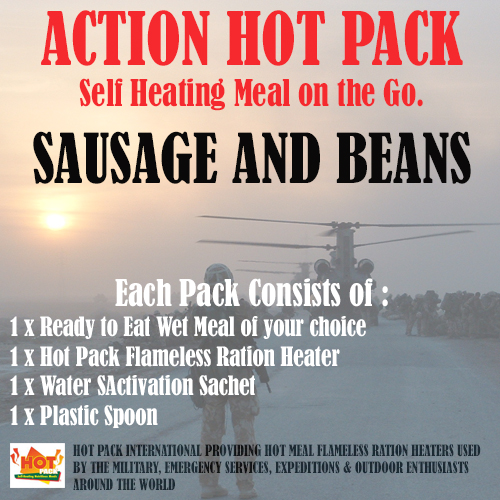 ACTION HOT PACK SELF HEATING MEAL Sausage, Beans & Tomato Sauce