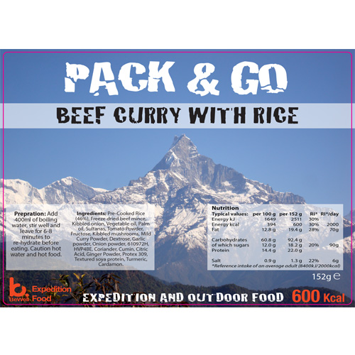 Pack & Go 600 Kcal Beef Curry with Rice