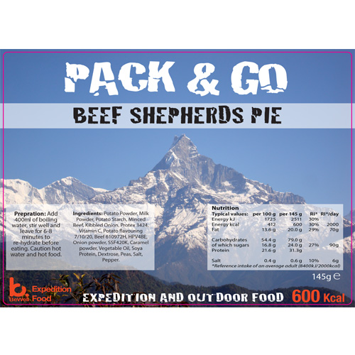 Pack & Go 600 Kcal Beef Shepherds Pie