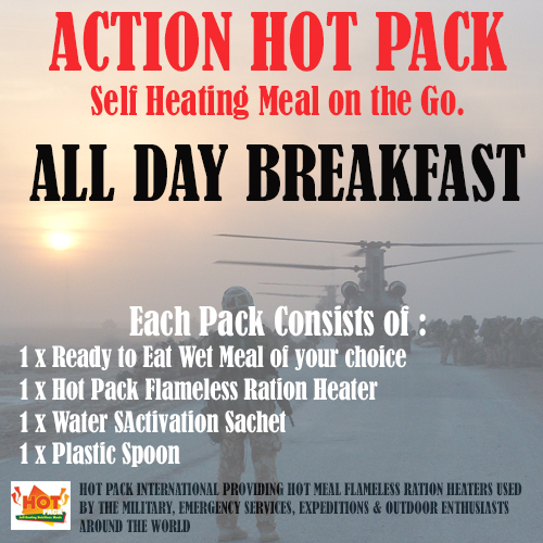ACTION HOT PACK SELF HEATING MEAL.  All Day Breakfast