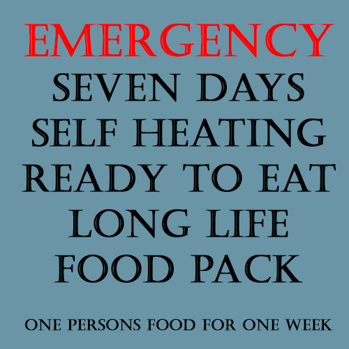 Emergency long Life, Ready to Eat, Self Heating 7 day Food Pack