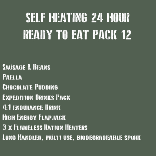 SELF HEATING 24 Hour Ready to Eat Pack 12 Meaty