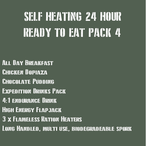 SELF HEATING 24 Hour Ready to Eat Pack 4 MEATY