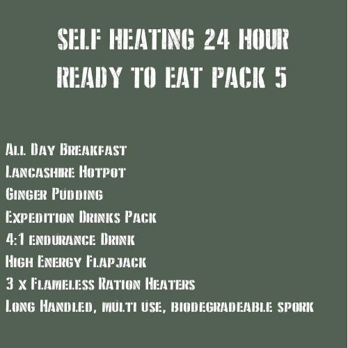 SELF HEATING 24 Hour Ready to Eat Pack 5 MEATY