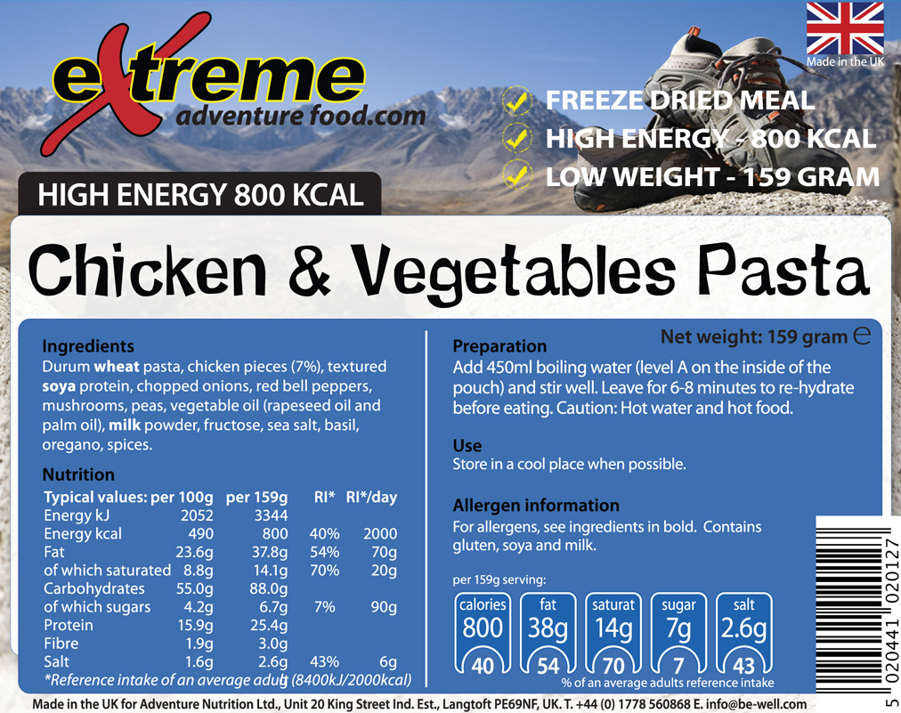 Extreme 800 Kcal Chicken Pasta & Vegetables