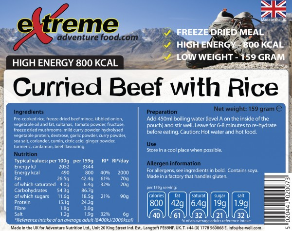 Extreme 800 Kcal Curried Beef & Rice