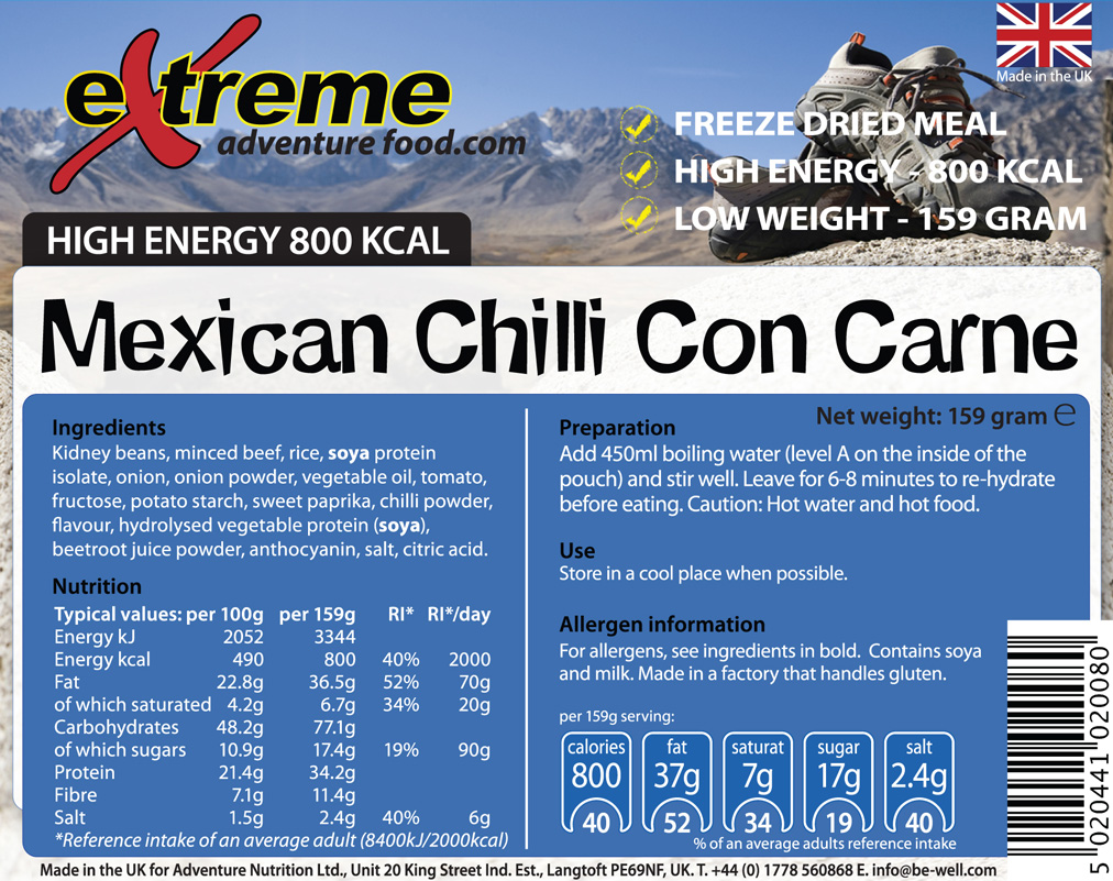 Extreme 800 Kcal Mexican Chilli Con Carne