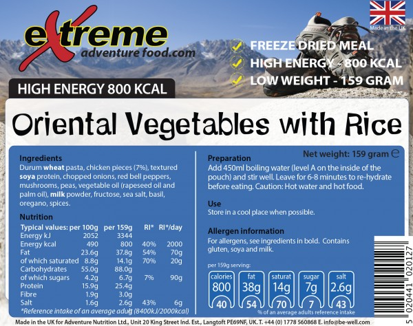 Extreme 800 Kcal Oriental Vegetables & Rice
