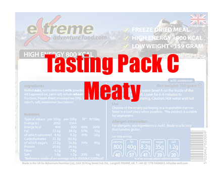 Extreme Adventure Food Tasting Pack C Meaty