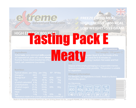 Extreme Adventure Food Tasting Pack E Meaty