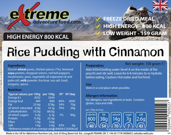 Extreme Adventure Food 500 Kcal Rice Pudding & Cinnamon