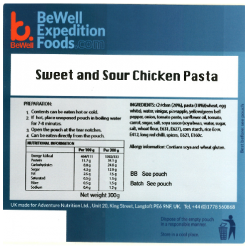 300g Sweet & Sour Chicken Pasta MRE Wet Meal