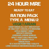 24 Hour MRE ready to Eat TYPE A Menu 2 ration pack