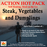 Action Hot Pack Self Heating STEAK, VEGETABLES & DUMPLINGS 300g