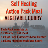 Action Hot Pack Self Heating Meal VEGETABLE CURRY