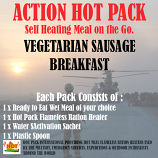 ACTION HOT PACK SELF HEATING MEAL Vegetarian Sausage Breakfast