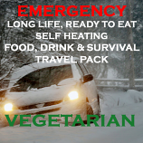Emergency Long Life, Ready to Eat, Self Heating Travel Pack  VEGETARIAN