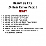 MRE Ready to eat 24 hour ration Pack 6 Meaty - 2019