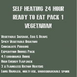 SELF HEATING 24 Hour Ready to Eat Pack 1 VEGETARIAN