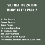 SELF HEATING 24 Hour Ready to Eat Pack 7 MEATY